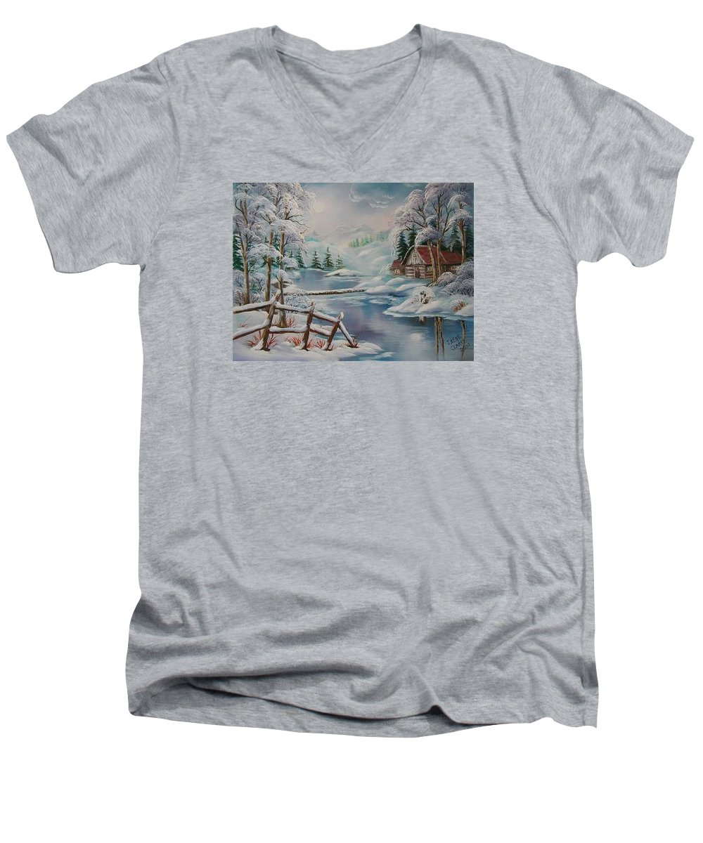 Winter Scapes Men's V-Neck T-Shirt featuring the painting Winter In The Valley by Irene Clarke