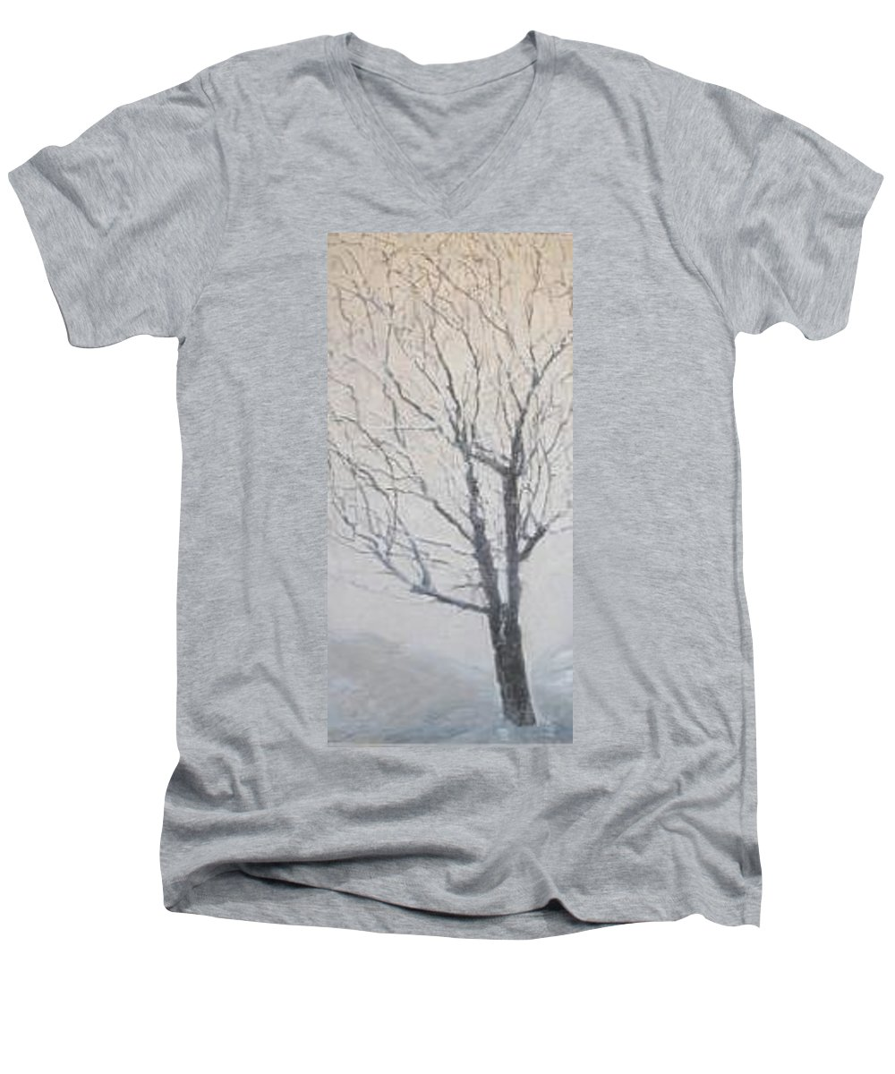 Tree Men's V-Neck T-Shirt featuring the painting Winter by Leah Tomaino