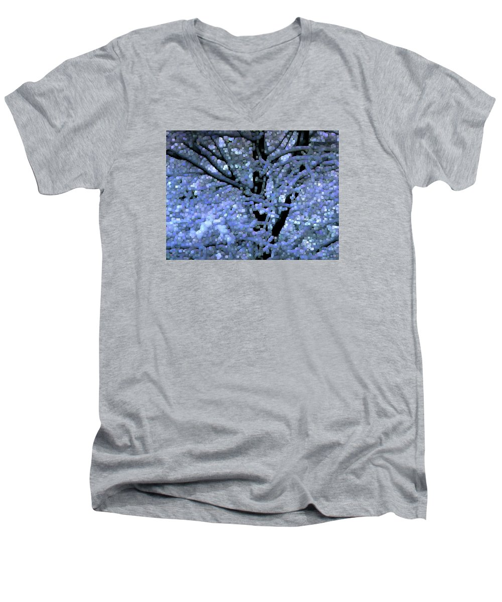 Abstract Men's V-Neck T-Shirt featuring the digital art Winter Light by Dave Martsolf