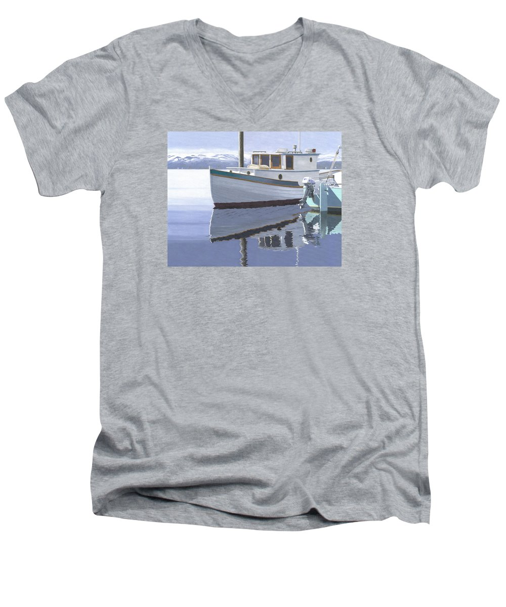 Marine Men's V-Neck T-Shirt featuring the painting Winter Moorage by Gary Giacomelli