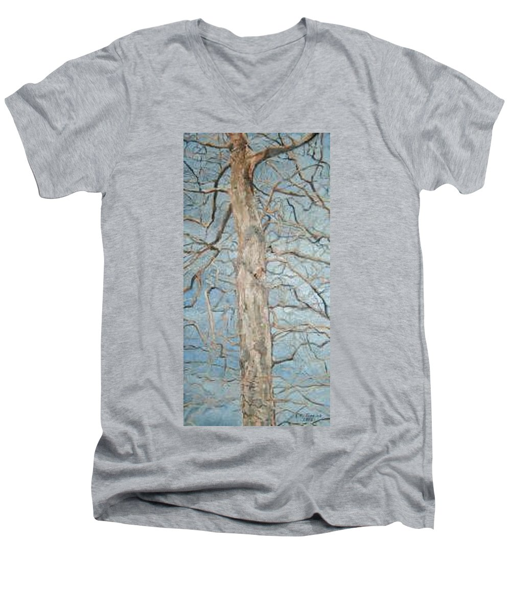 Tree Men's V-Neck T-Shirt featuring the painting Winter Morning by Leah Tomaino