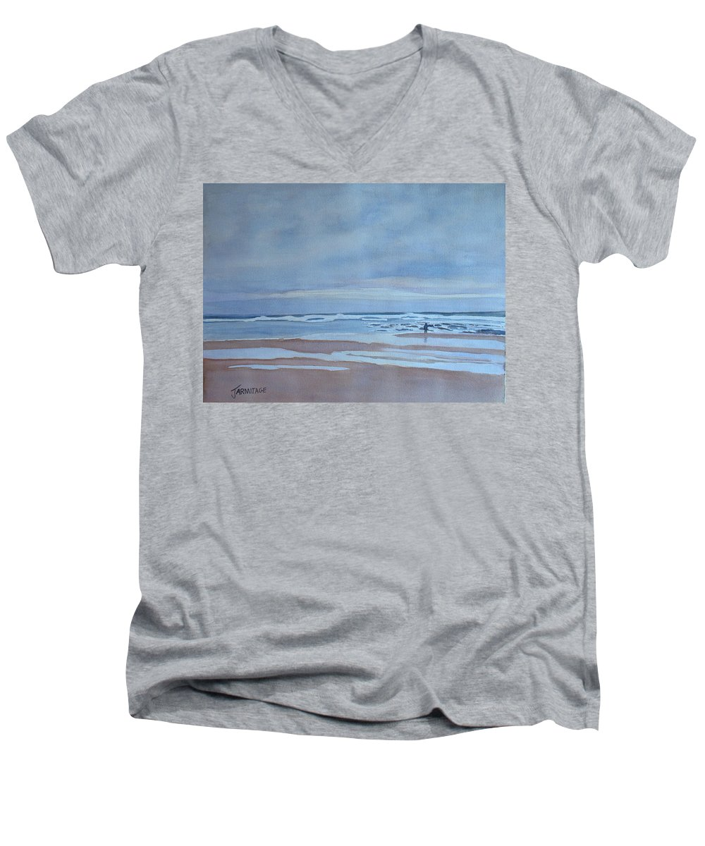 Ocean Men's V-Neck T-Shirt featuring the painting Winter Morning Solitude by Jenny Armitage