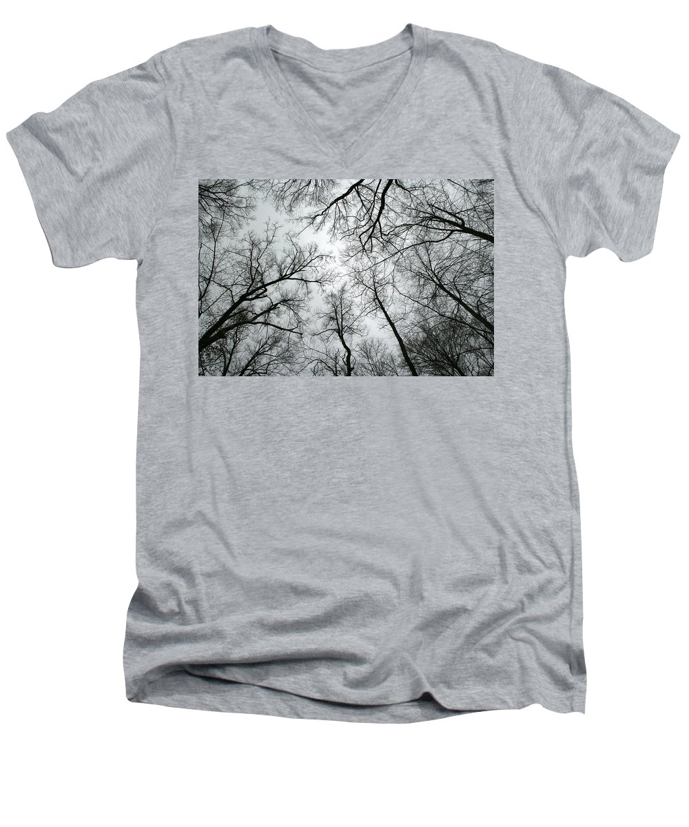 Winter Sky Tree Trees Grey Gloomy Peaceful Quite Calm Peace Cloudy Overcast Dark Men's V-Neck T-Shirt featuring the photograph Winter Sky by Andrei Shliakhau