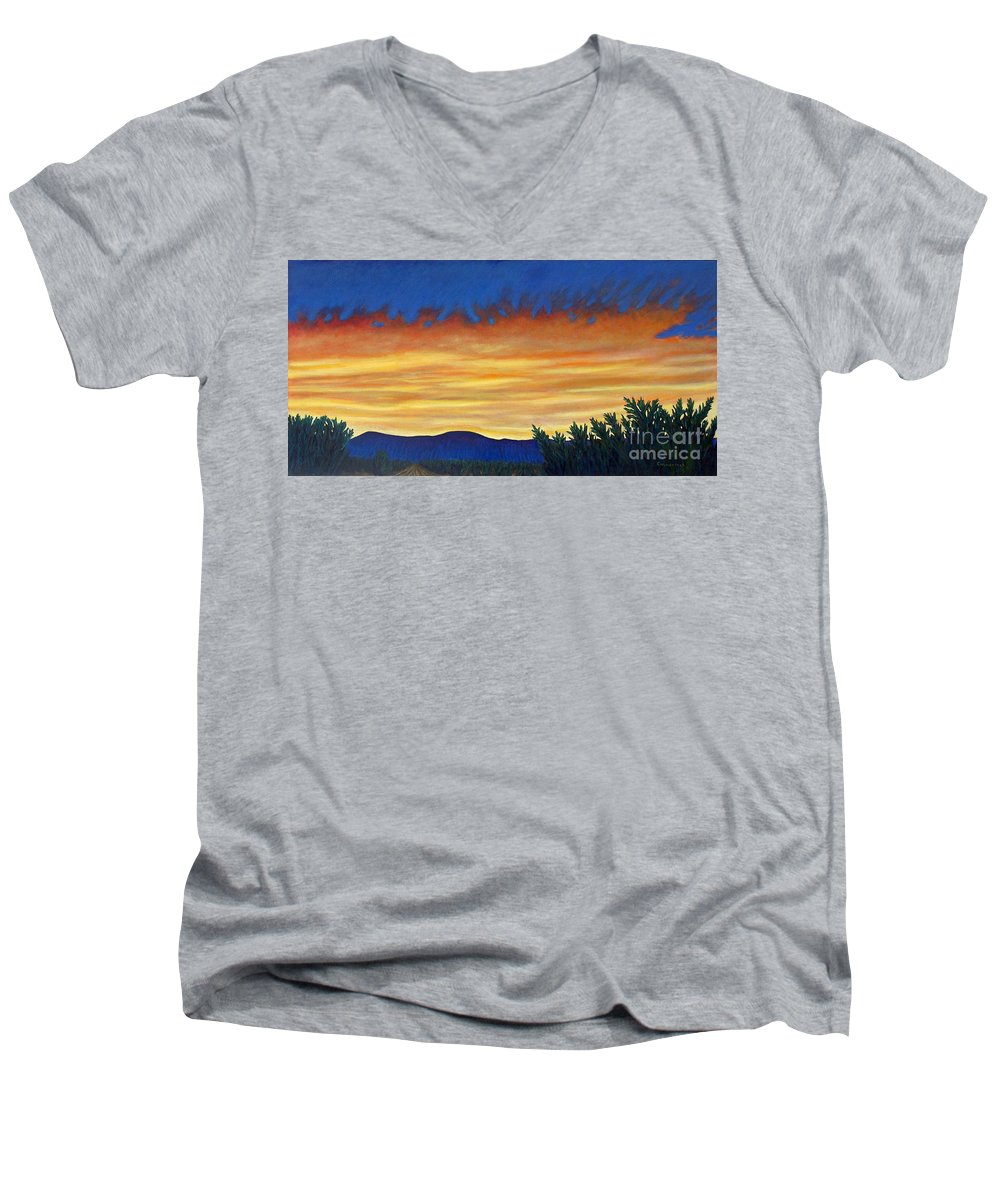 Sunset Men's V-Neck T-Shirt featuring the painting Winter Sunset In El Dorado by Brian Commerford
