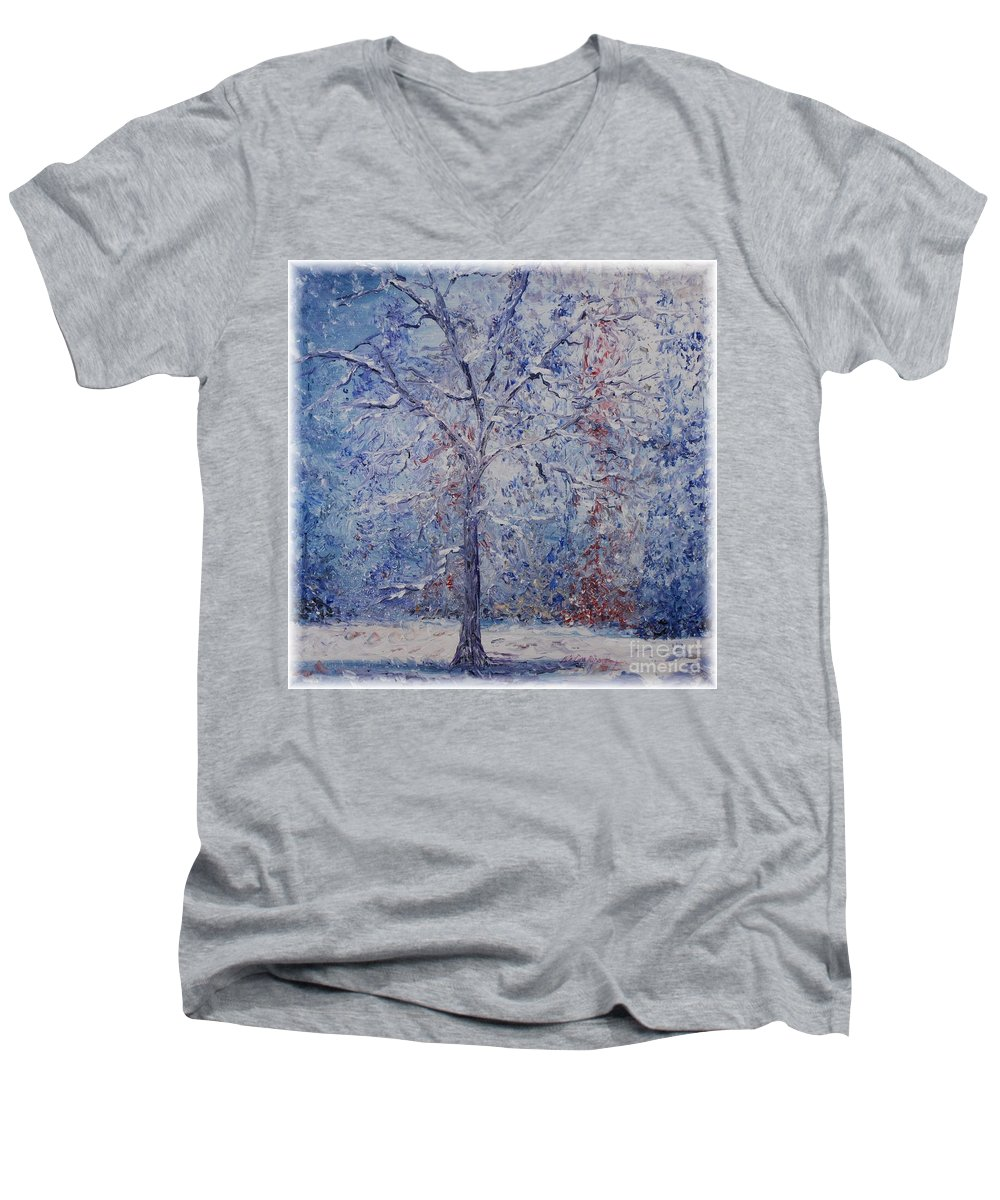 Winter Men's V-Neck T-Shirt featuring the painting Winter Trees by Nadine Rippelmeyer