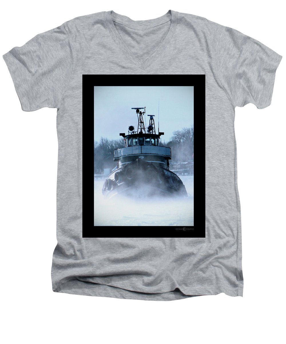 Tug Men's V-Neck T-Shirt featuring the photograph Winter Tug by Tim Nyberg