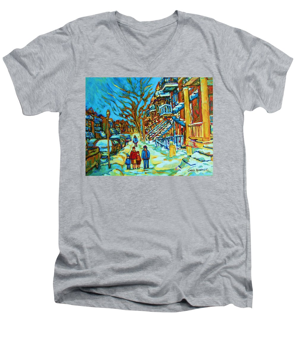 Winterscenes Men's V-Neck T-Shirt featuring the painting Winter Walk In The City by Carole Spandau