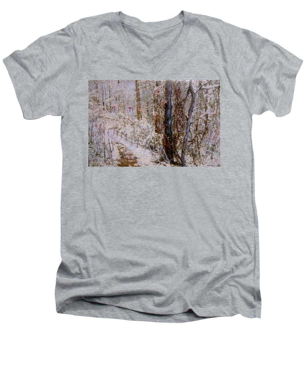 Snow; Trees Men's V-Neck T-Shirt featuring the painting Winter Wonderland by Ben Kiger