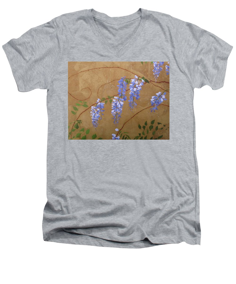 Periwinkle Wisteria Flowers Men's V-Neck T-Shirt featuring the painting Wisteria by Leah Tomaino