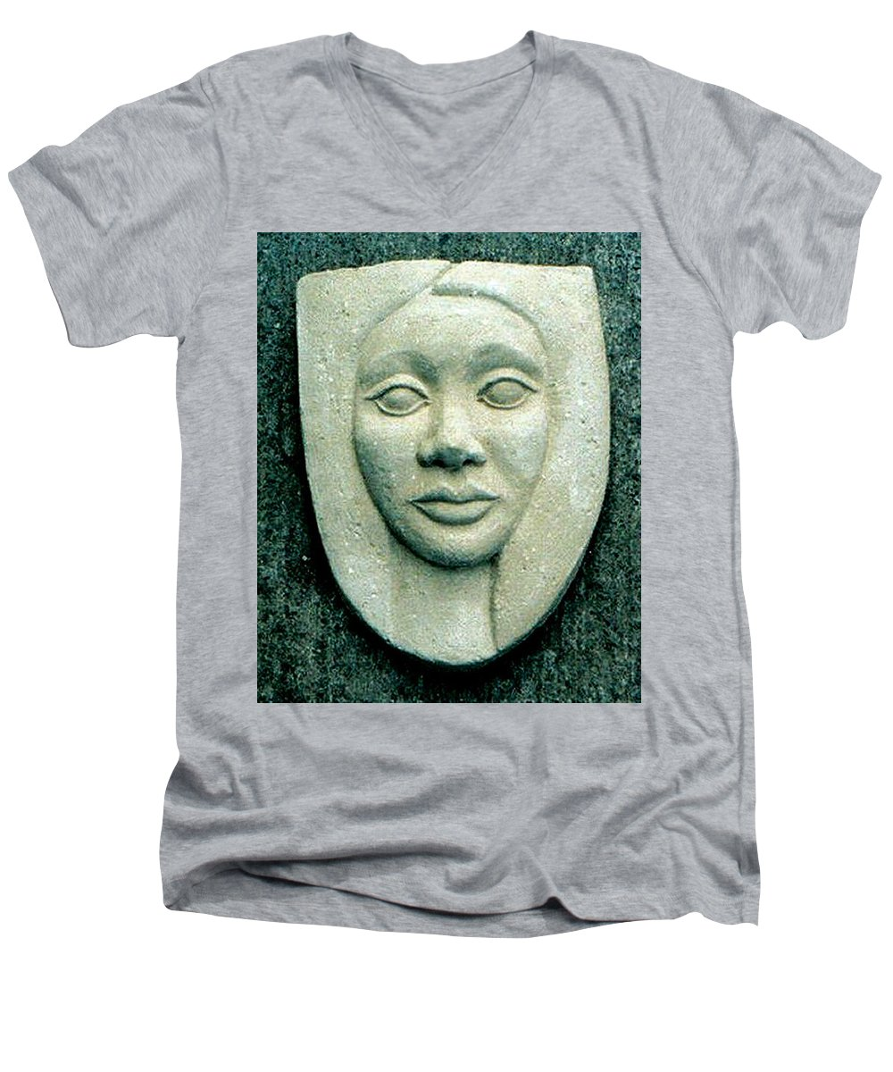 Relief Men's V-Neck T-Shirt featuring the relief Without Veils by Madalena Lobao-Tello