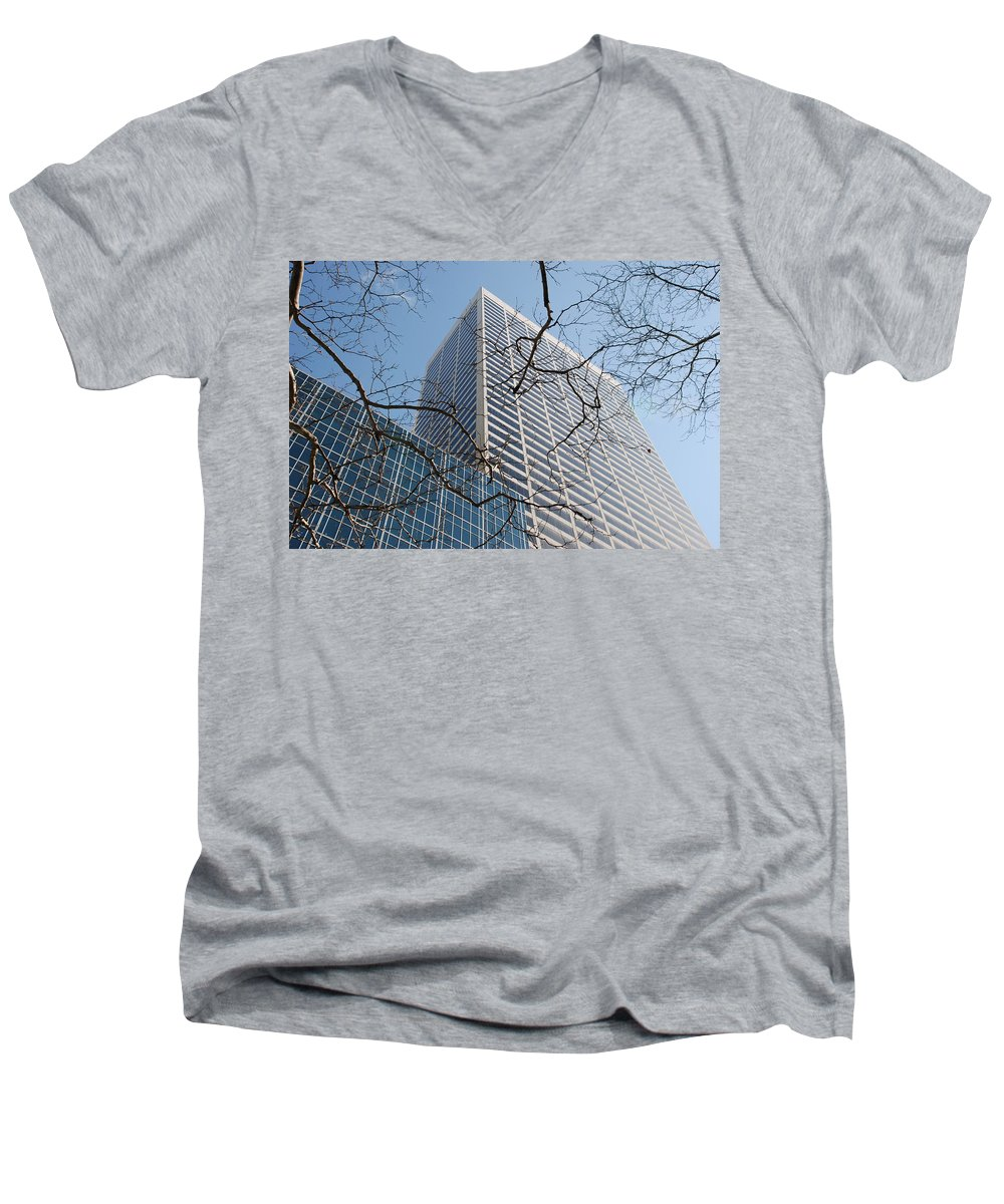 Architecture Men's V-Neck T-Shirt featuring the photograph Wood And Glass by Rob Hans