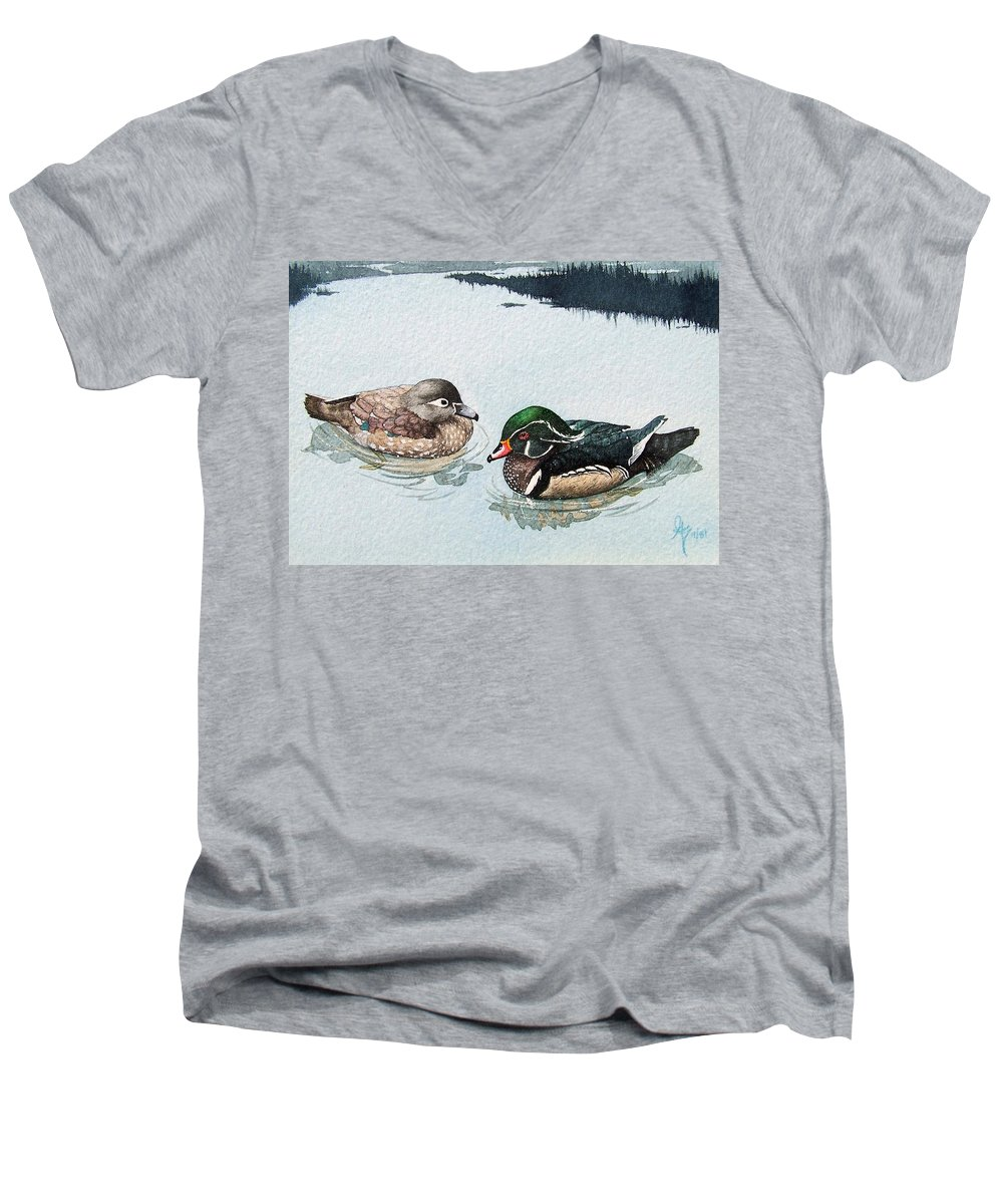 Ducks Men's V-Neck T-Shirt featuring the painting Wood Ducks by Gale Cochran-Smith