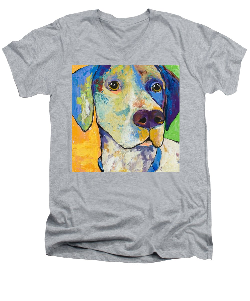 German Shorthair Animalsdog Blue Yellow Acrylic Canvas Men's V-Neck T-Shirt featuring the painting Yancy by Pat Saunders-White