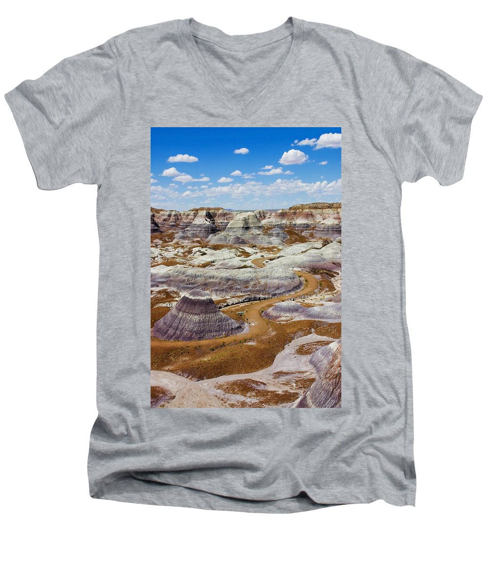 Painted Desert Men's V-Neck T-Shirt featuring the photograph Yea Though I Walk by Skip Hunt