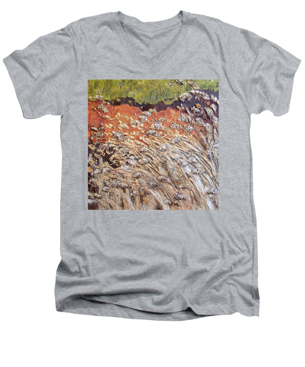 Abstract Men's V-Neck T-Shirt featuring the painting Yearning by Piety Choi