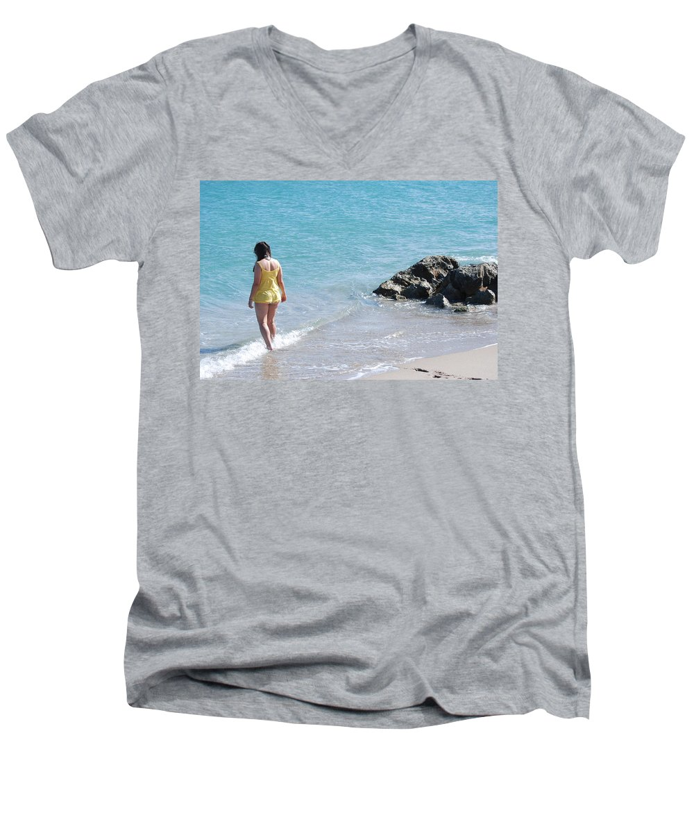 Sea Scape Men's V-Neck T-Shirt featuring the photograph Yellow And Blue by Rob Hans