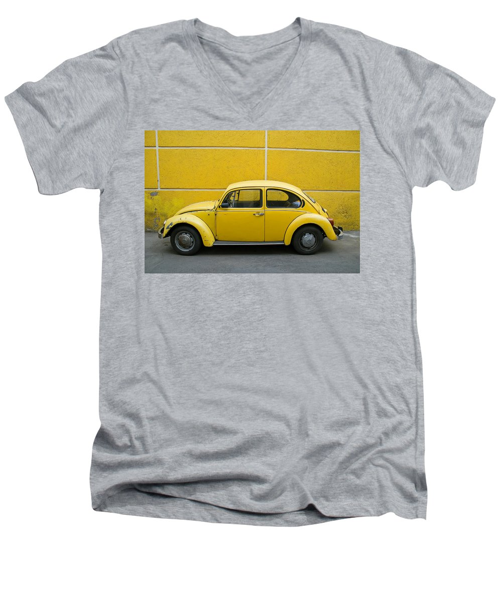 Yellow Men's V-Neck T-Shirt featuring the photograph Yellow Bug by Skip Hunt