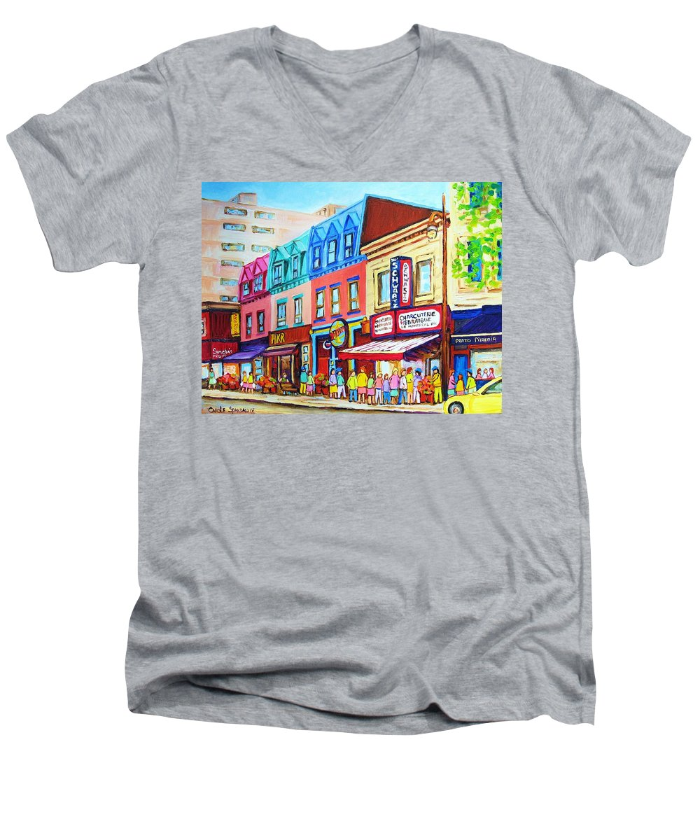 Reastarant Men's V-Neck T-Shirt featuring the painting Yellow Car At The Smoked Meat Lineup by Carole Spandau