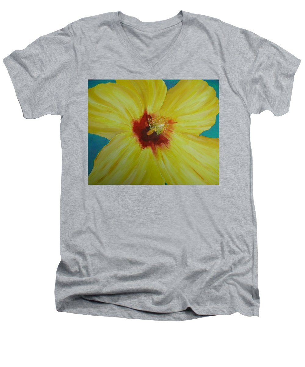 Flower Men's V-Neck T-Shirt featuring the print Yellow Hibiscus by Melinda Etzold