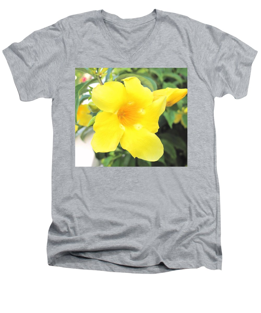 Yellow Men's V-Neck T-Shirt featuring the photograph Yellow Hibiscus St Kitts by Ian MacDonald