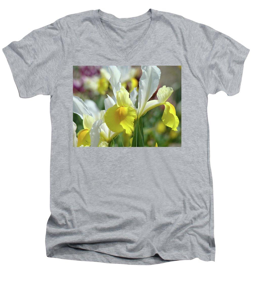 �irises Artwork� Men's V-Neck T-Shirt featuring the photograph Yellow Irises Flowers Iris Flower Art Print Floral Botanical Art Baslee Troutman by Baslee Troutman