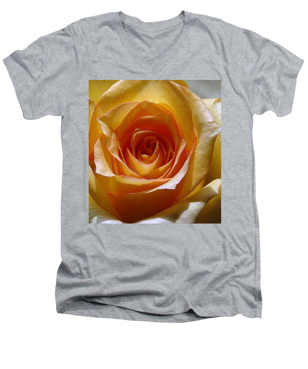 Rose Yellow Men's V-Neck T-Shirt featuring the photograph Yellow Rose by Luciana Seymour