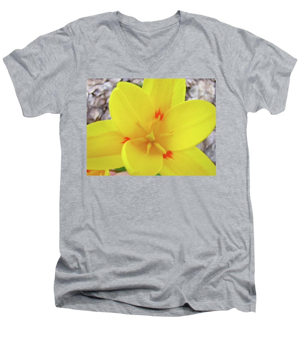 �tulips Artwork� Men's V-Neck T-Shirt featuring the photograph Yellow Tulip Flower Spring Flowers Floral Art Prints by Baslee Troutman