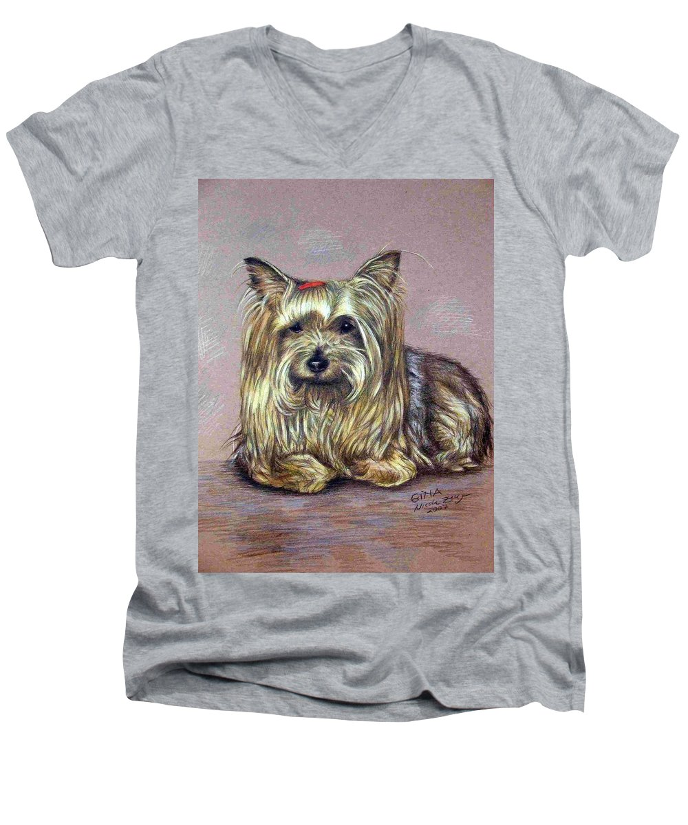 Dog Men's V-Neck T-Shirt featuring the drawing Yorkshire Terrier by Nicole Zeug