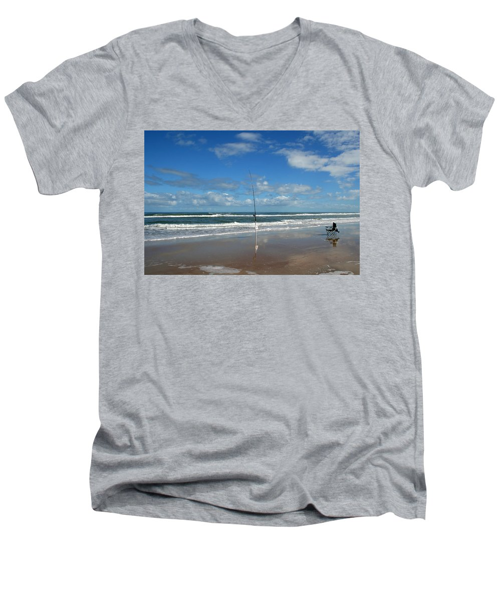 Fish Fishing Vacation Beach Surf Shore Rod Pole Chair Blue Sky Ocean Waves Wave Sun Sunny Bright Men's V-Neck T-Shirt featuring the photograph You Could Have Been There by Andrei Shliakhau