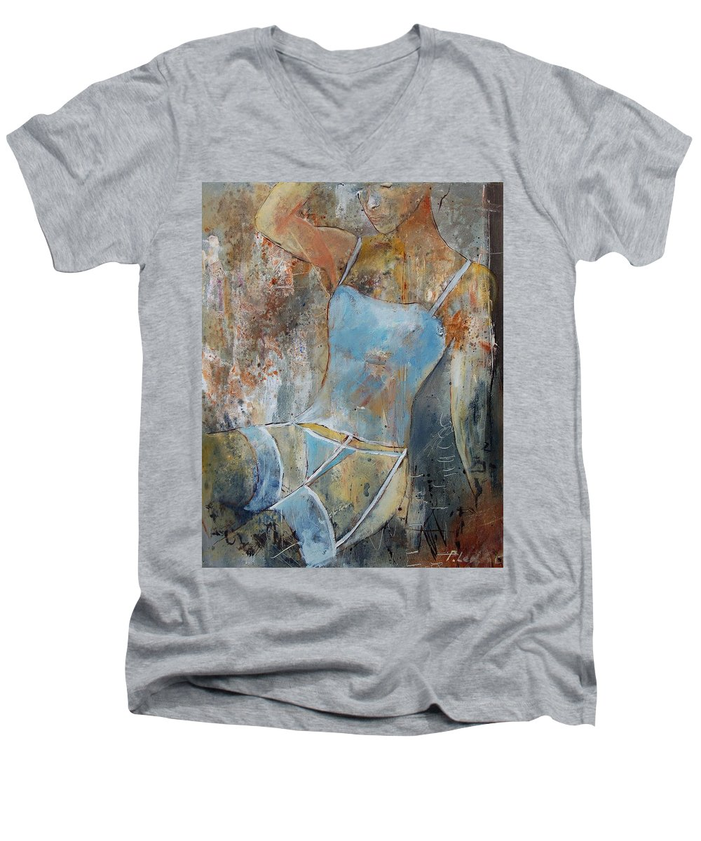 Nude Men's V-Neck T-Shirt featuring the painting Young Girl 451108 by Pol Ledent