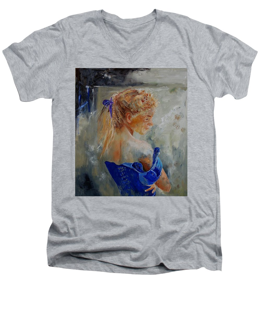 Gir Men's V-Neck T-Shirt featuring the painting Young Girl 78 by Pol Ledent