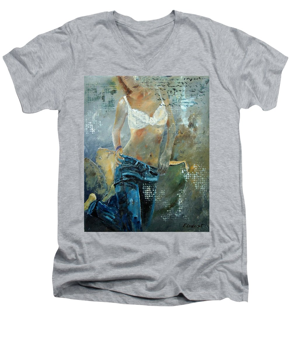 Girl Men's V-Neck T-Shirt featuring the painting Young Girl In Jeans by Pol Ledent