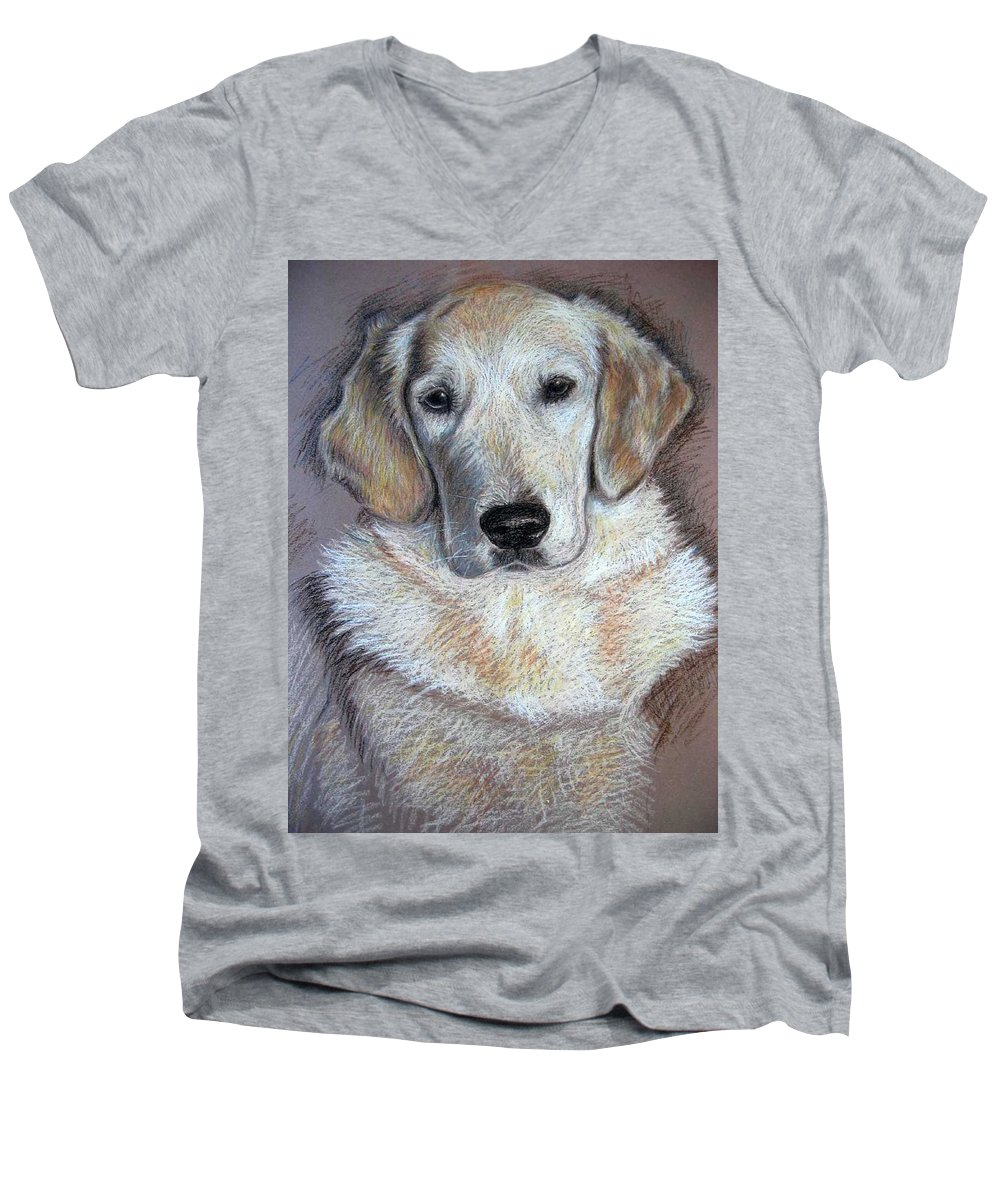 Dog Men's V-Neck T-Shirt featuring the pastel Young Golden Retriever by Nicole Zeug