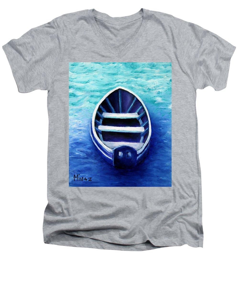 Boat Men's V-Neck T-Shirt featuring the painting Zen Boat by Minaz Jantz