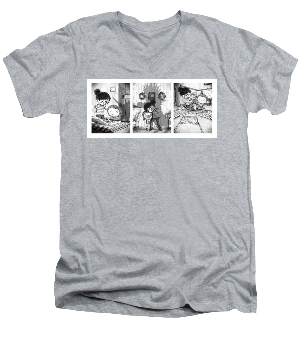 Pizza Men's V-Neck T-Shirt featuring the digital art The Snarkle Beast by Michael Ciccotello