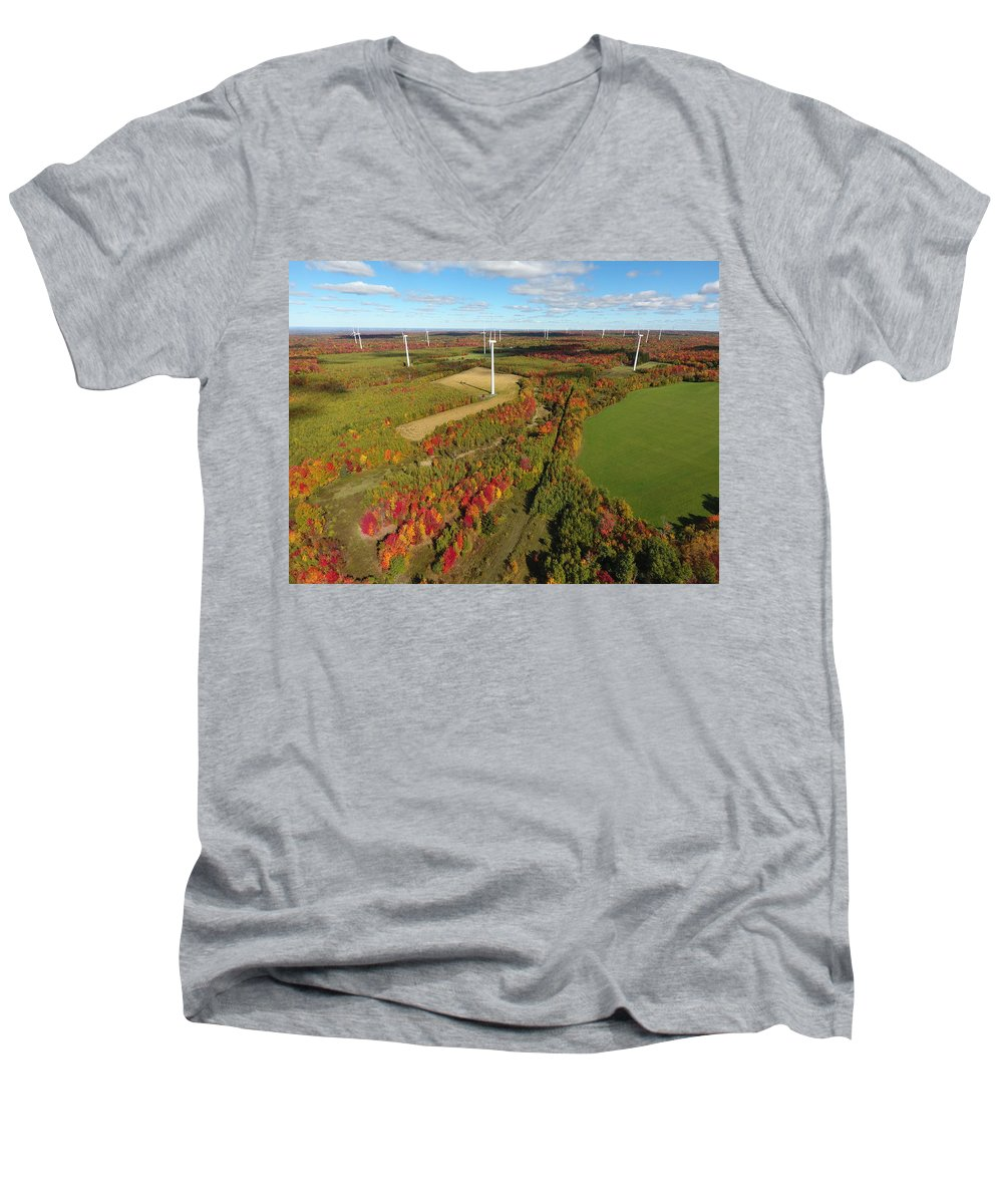 Men's V-Neck T-Shirt featuring the photograph Fall Wind Turbines by Jedidiah Thone