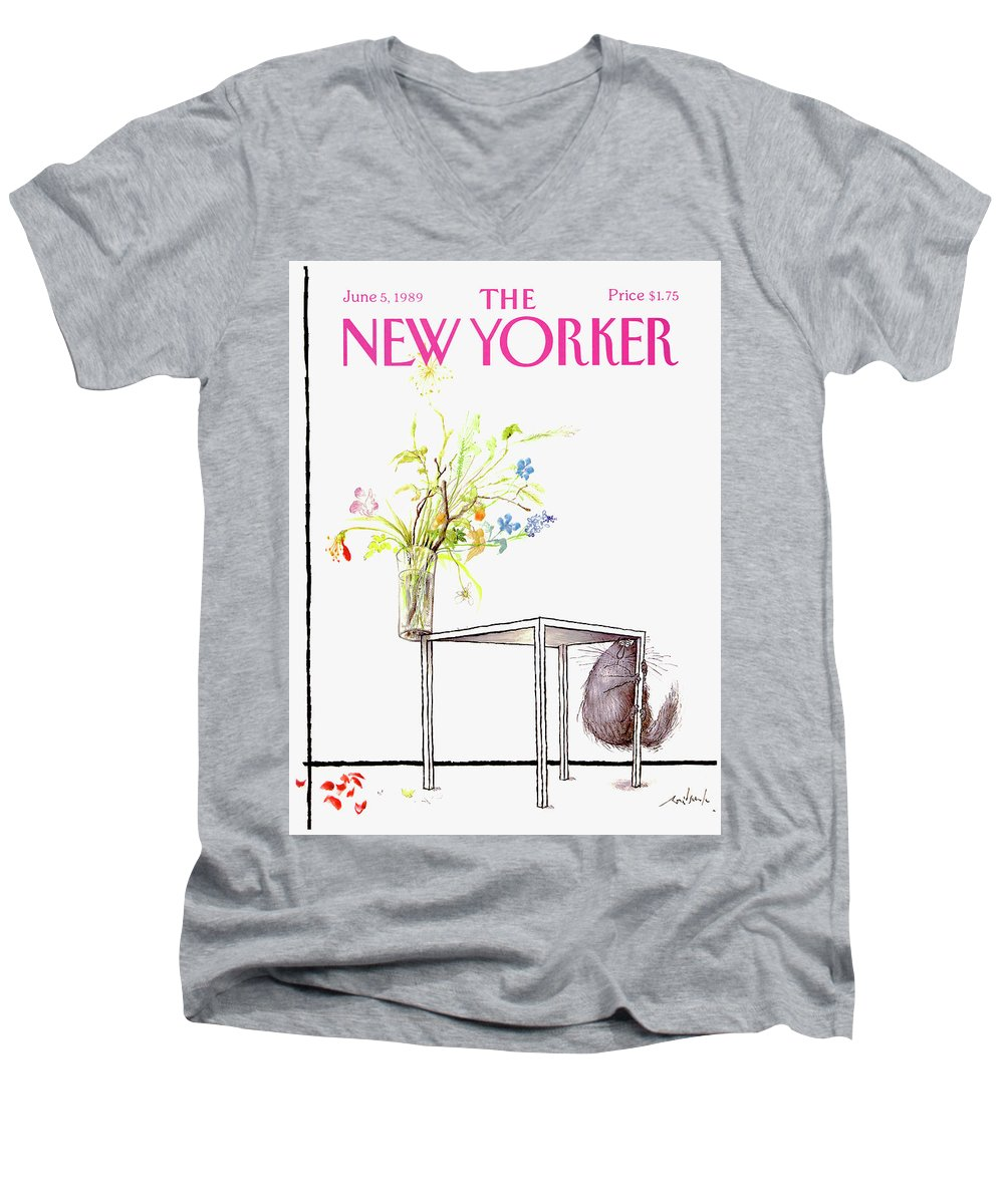 Animal Men's V-Neck T-Shirt featuring the drawing New Yorker Cover June 5 1989 by Ronald Searle