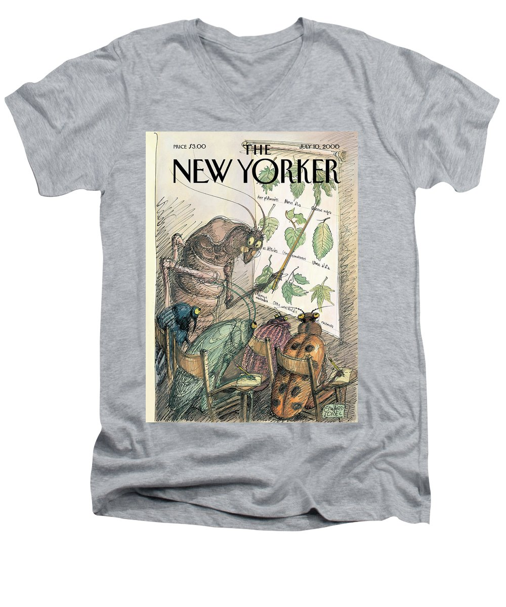 Summer School Artkey 51172 Eso Edward Sorel Men's V-Neck T-Shirt featuring the painting New Yorker July 10th, 2000 by Edward Sorel