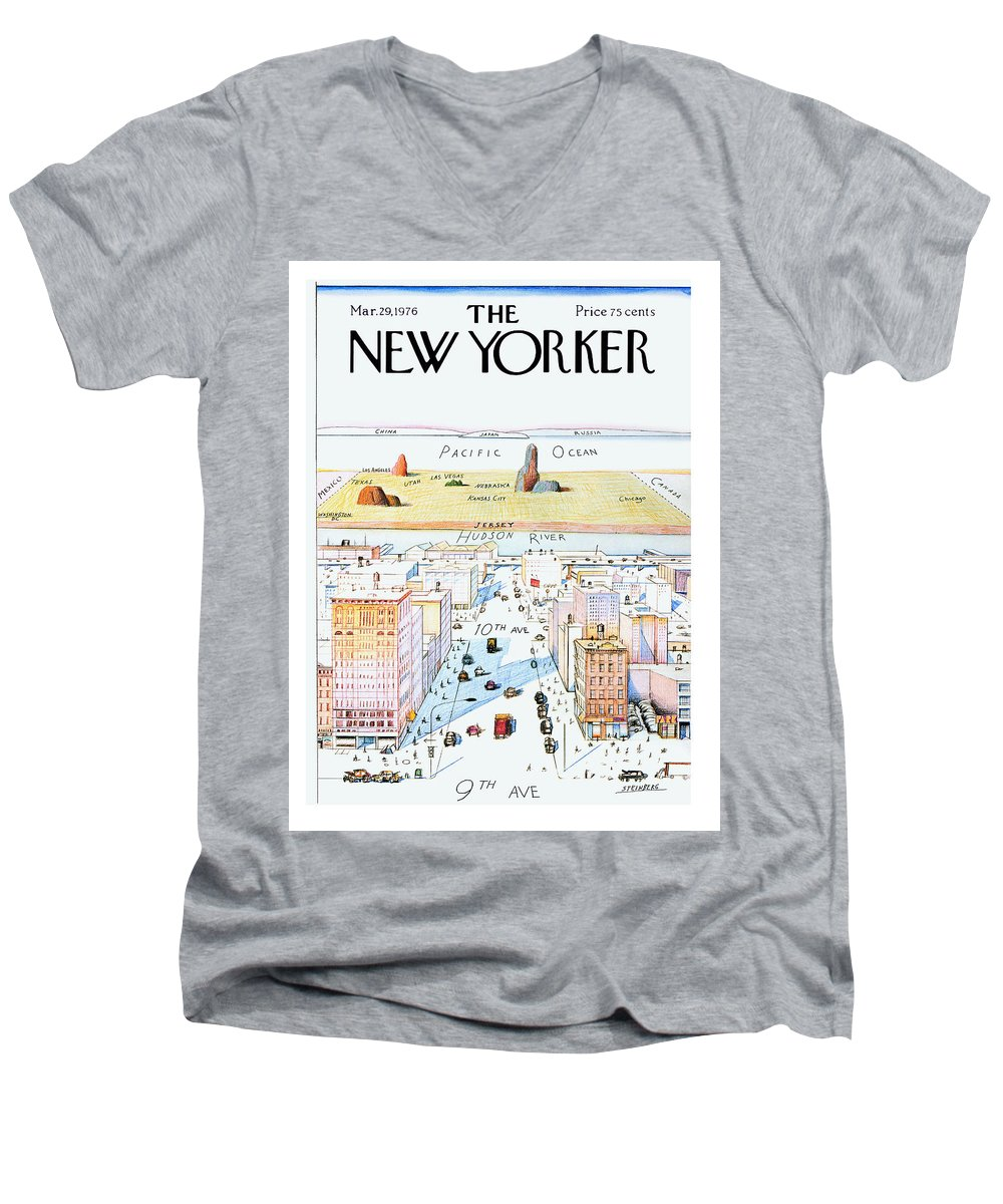 #condenastnewyorkercover Men's V-Neck T-Shirt featuring the painting New Yorker March 29, 1976 by Saul Steinberg