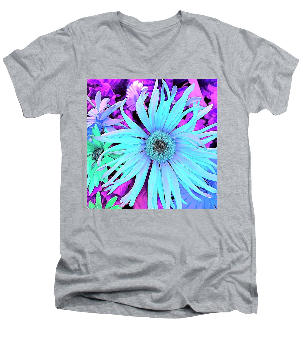 Blue Men's V-Neck T-Shirt featuring the digital art Something Blue by Cindy Greenstein