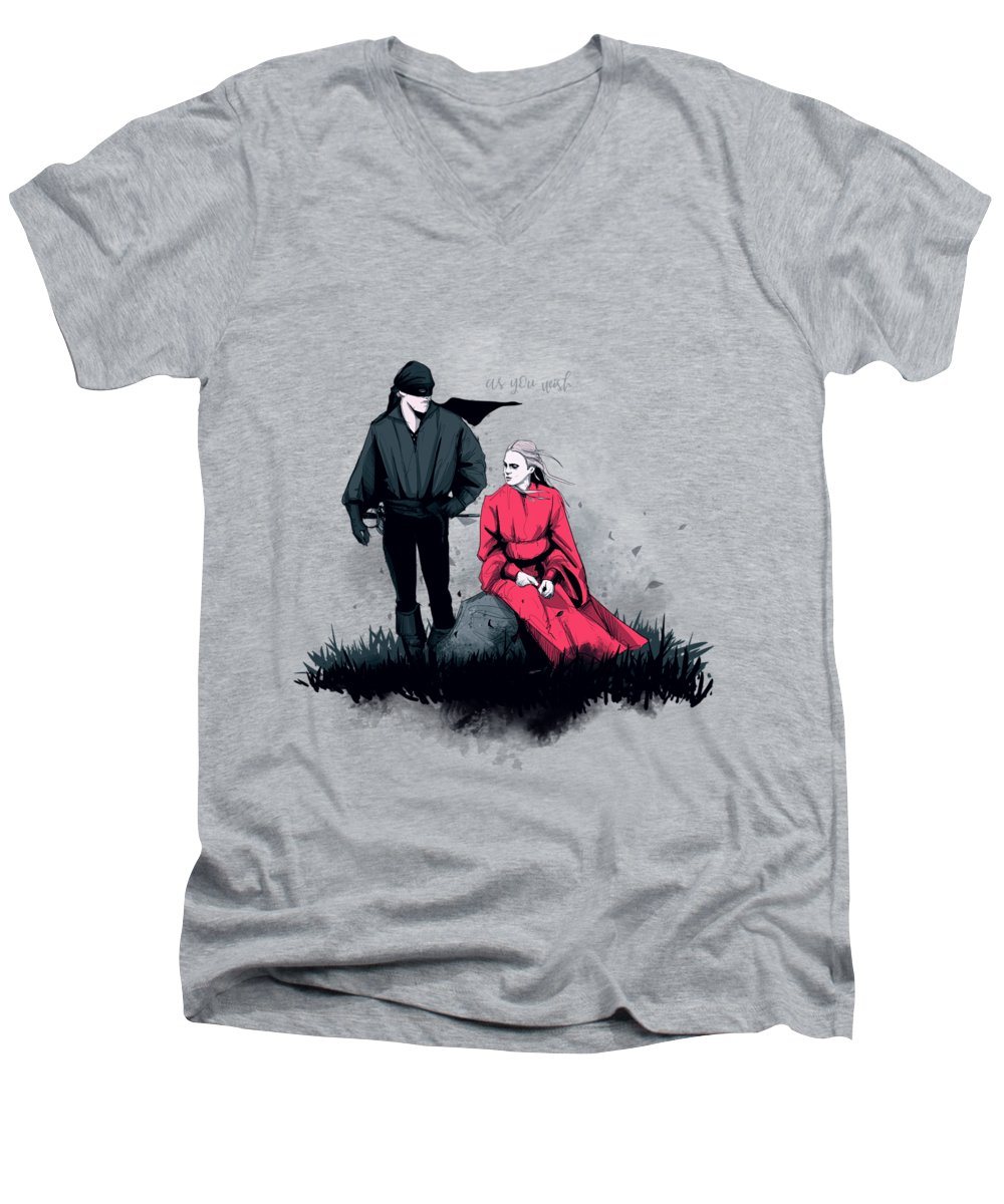 Princess Men's V-Neck T-Shirt featuring the drawing Westley And Buttercup by Ludwig Van Bacon