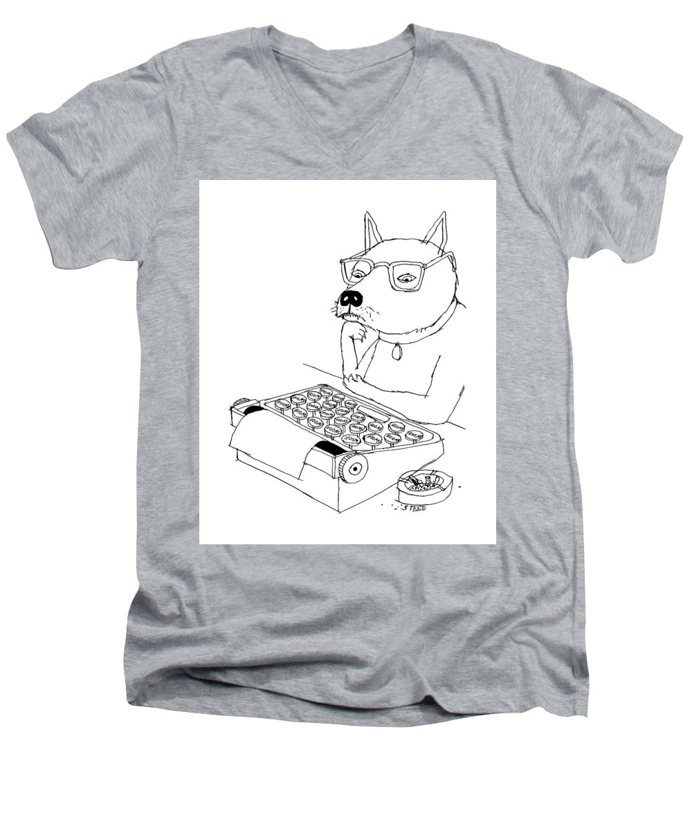 Captionless Men's V-Neck T-Shirt featuring the drawing Woof by Edward Steed