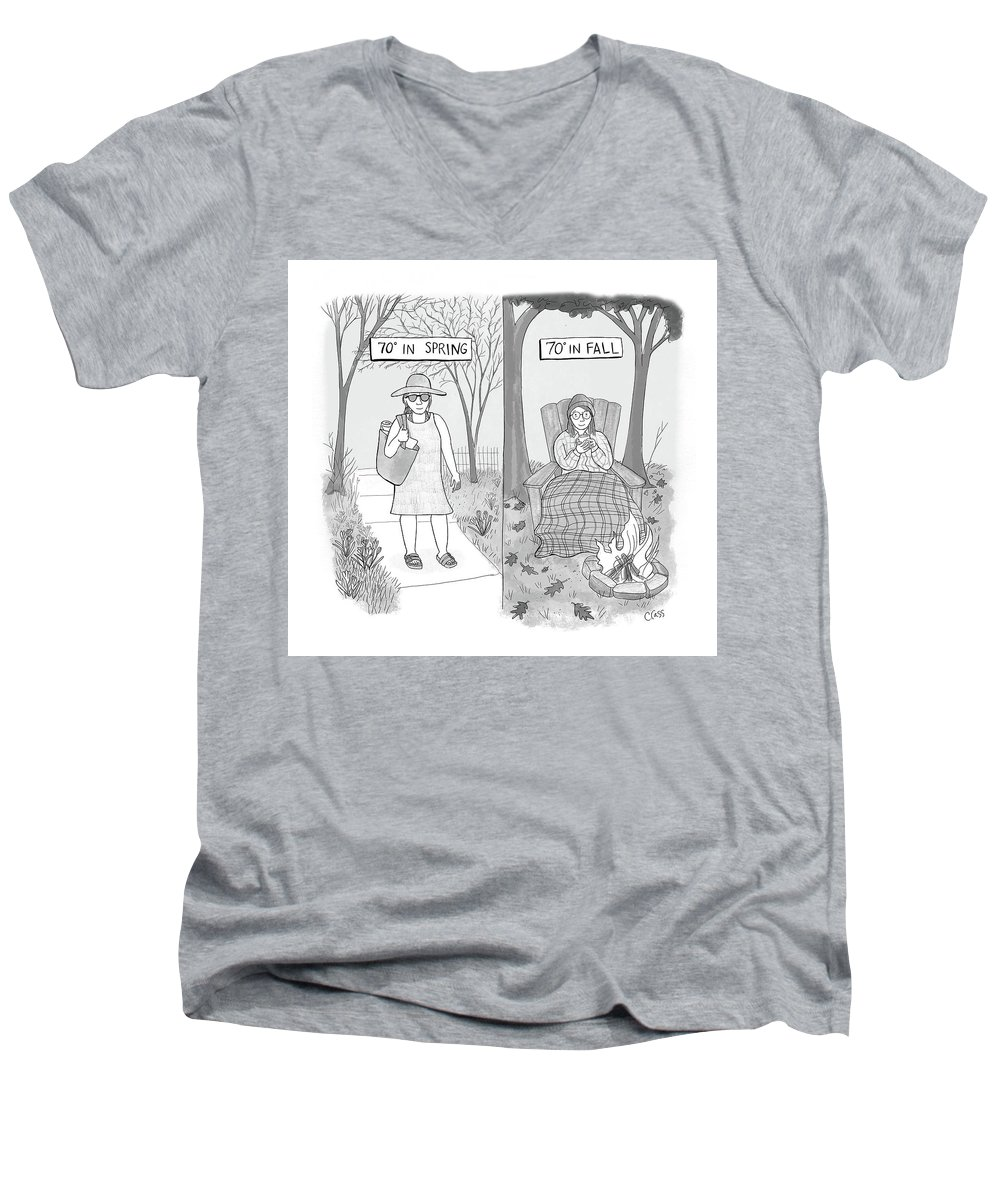 Captionless Men's V-Neck T-Shirt featuring the drawing 70 Degrees Spring Or Fall by Caitlin Cass