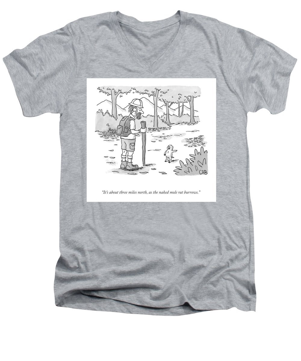 It's About Three Miles North Men's V-Neck T-Shirt featuring the drawing As The Naked Mole Rat Burrows by Adam Cooper