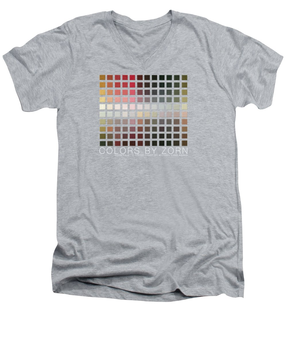 Zorn Color Palette Men's V-Neck T-Shirt featuring the painting Colors By Zorn by Michael Lynn Adams