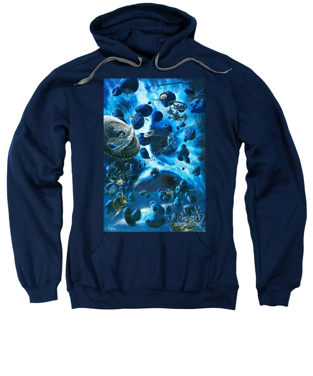 Asteroid Sweatshirt featuring the painting Alien Pirates by Murphy Elliott