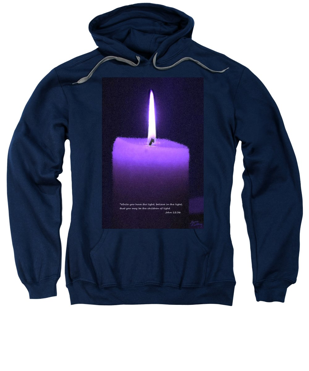 Purple Sweatshirt featuring the painting Believe In The Light by Bruce Nutting