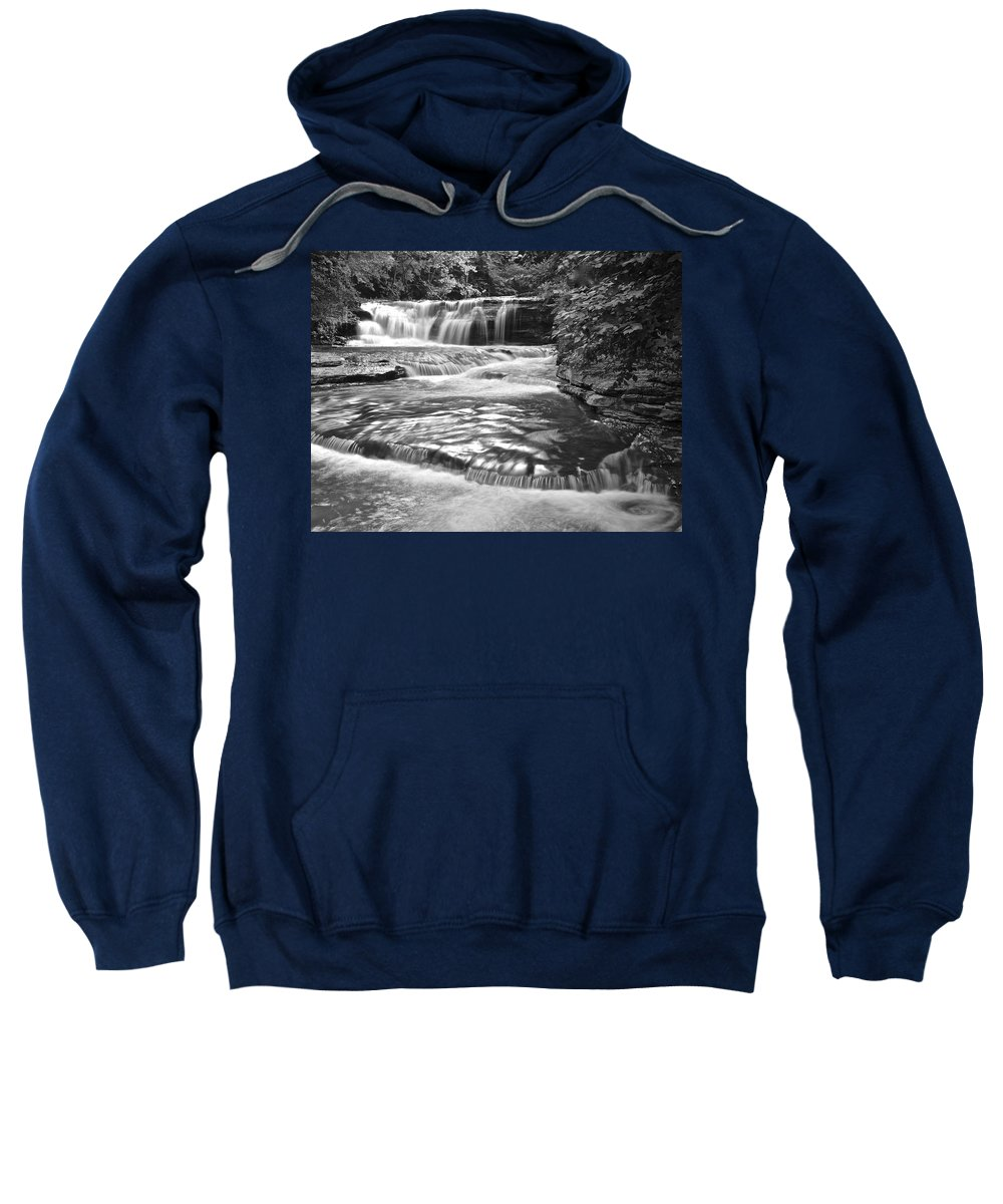 Black Sweatshirt featuring the photograph Black And White Cascade by Frozen in Time Fine Art Photography