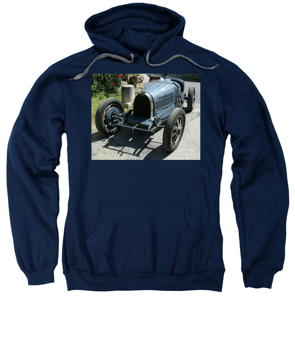 Oldtimer Sweatshirt featuring the photograph Blue Bugatti Oldtimer by Christiane Schulze Art And Photography