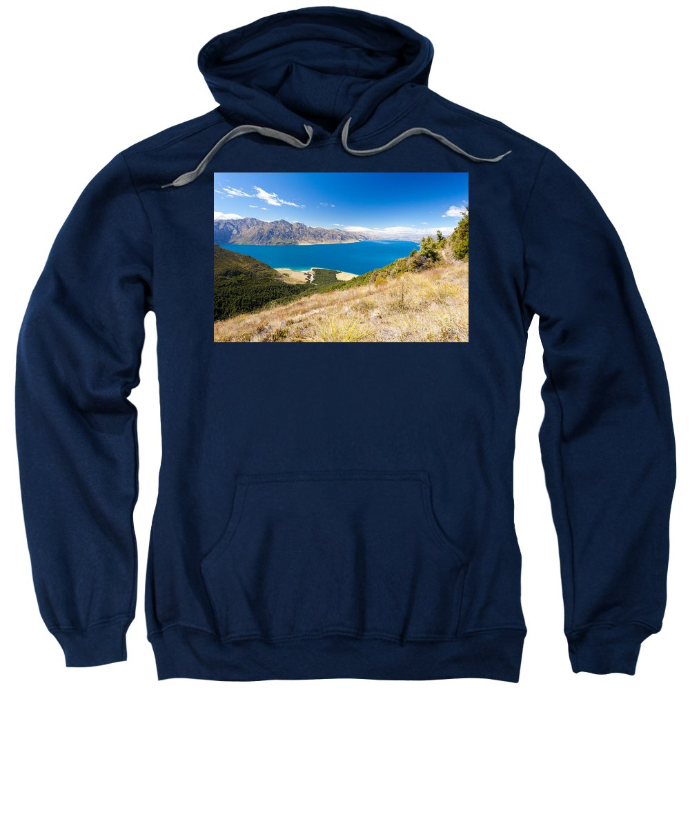 South Island Sweatshirt featuring the photograph Blue Surface Of Lake Hawea In Central Otago In New Zealand by Stephan Pietzko